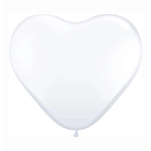 Fehér szív lufi 25 cm