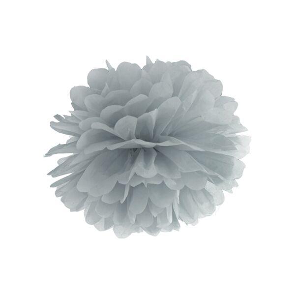 Szürke selyempapír pompom 35 cm