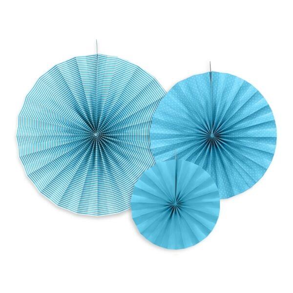 Kék színű legyező szett 3 db