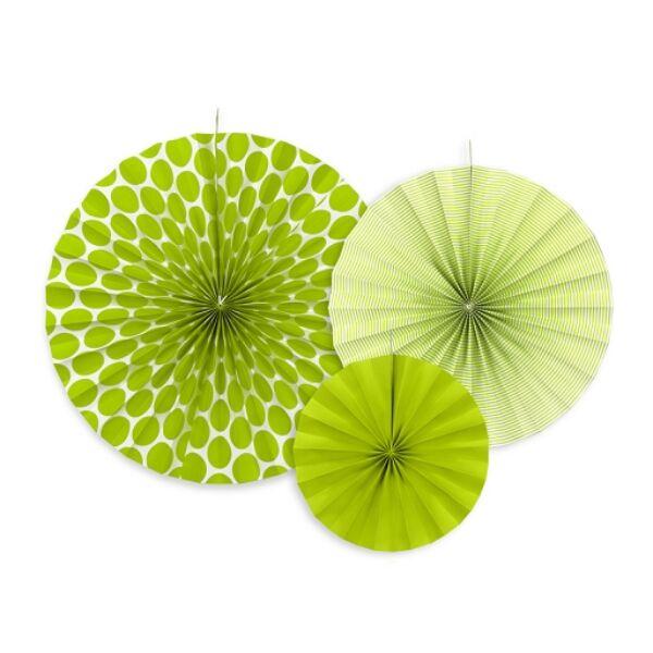 Zöld színű legyező szett 3 db