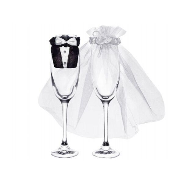 Esküvői pezsgőspohárra menyasszony és vőlegény dísz