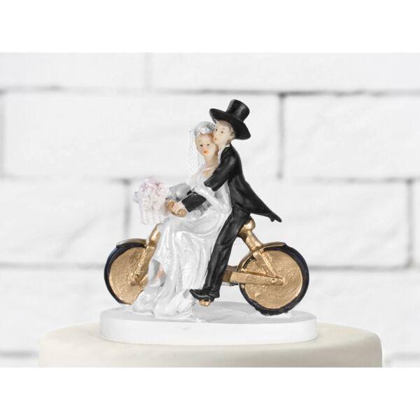 Arany biciklis esküvői tortadísz