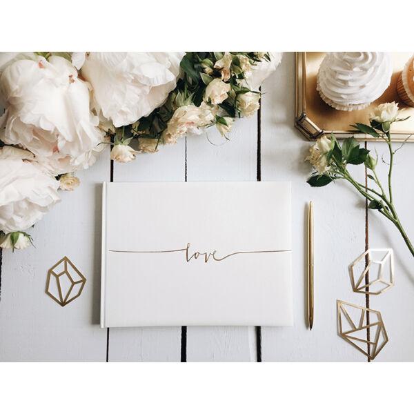 Ekrü esküvői vendégkönyv arany love felirattal
