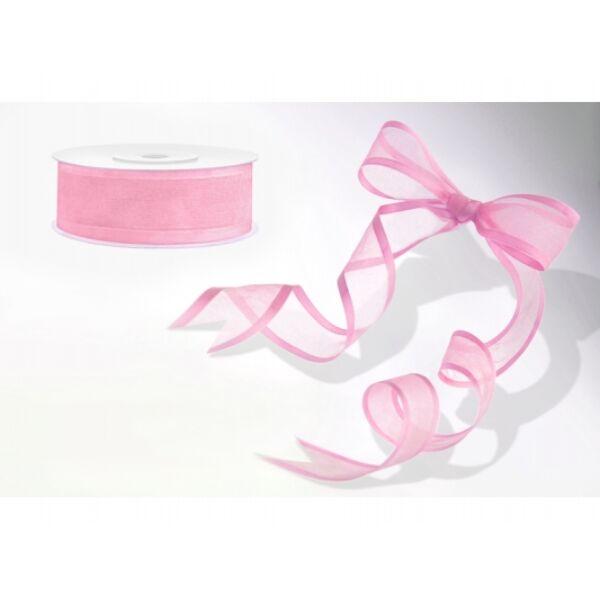 Rózsaszín szatén szélű organza szalag 25m