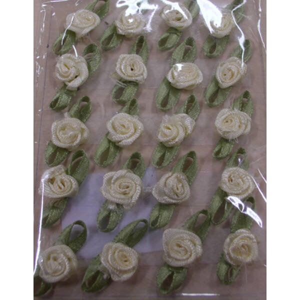 Ekrü szatén rózsa 20 db-os