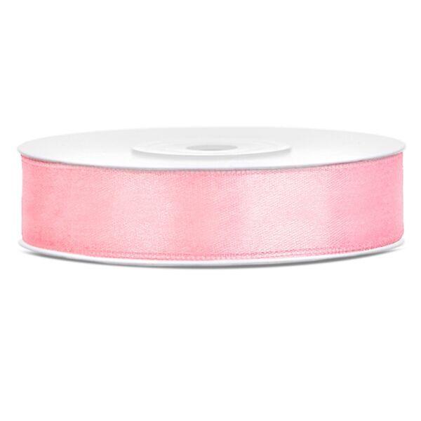 Világos rózsaszín szatén szalag 12mm x 25m