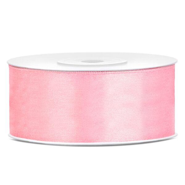 Világos rózsaszín szatén szalag 25mm x 25m