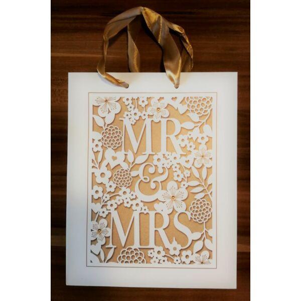 Arany mr és mrs esküvői ajándéktasak kicsi