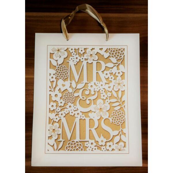 Arany mr és mrs esküvői ajándéktasak nagy