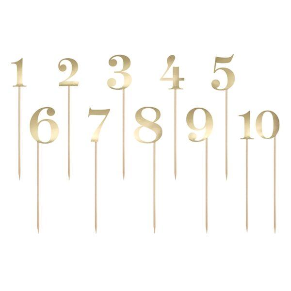 Arany papír számok pálcán