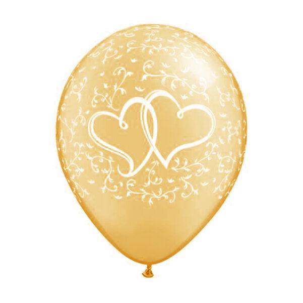 Arany szíves-indás esküvői lufi