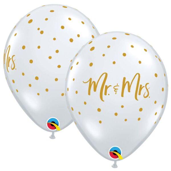 Átlátszó arany pöttyös Mr és Mrs esküvői héliumos lufi