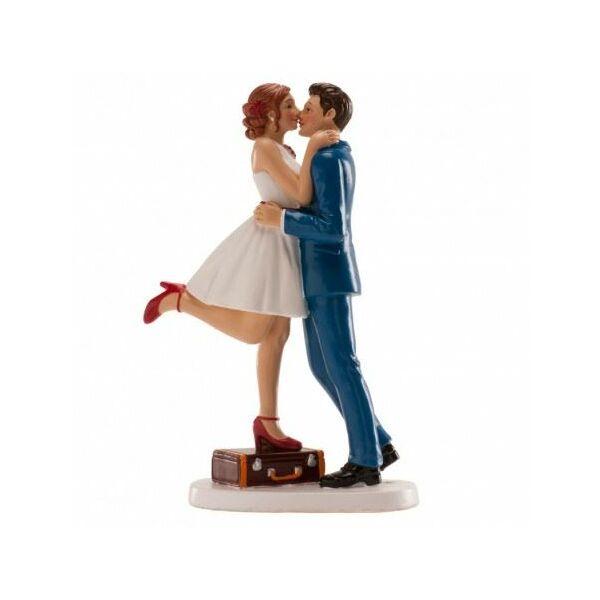 Bőröndös vidám esküvői tortadísz