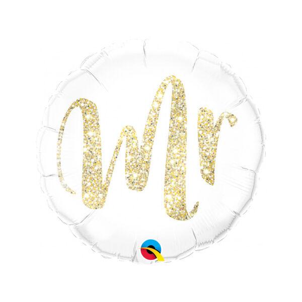 Csillogó arany Mr esküvői héliumos lufi