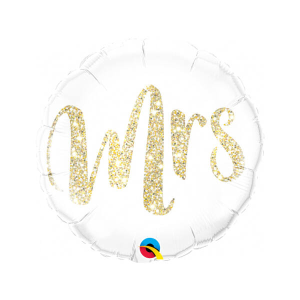 Csillogó arany Mrs esküvői héliumos lufi