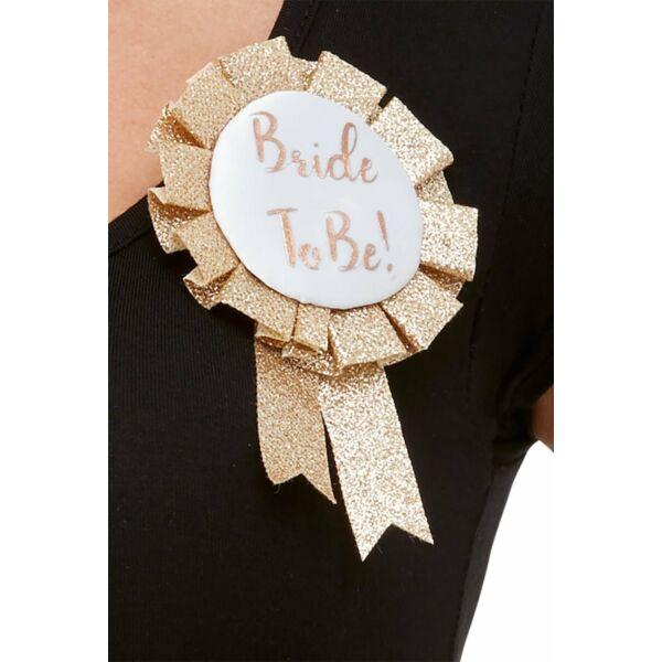 Csillogó rose gold bride to be kitűző