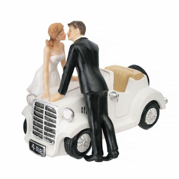Csókos-autós esküvői tortadísz