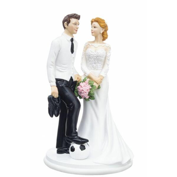 Elegáns focis esküvői tortadísz