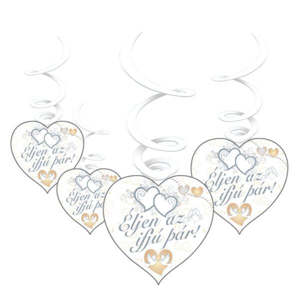 Éljen az ifjú pár galambos esküvői függő dísz