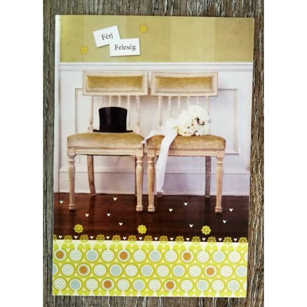 Férj feleség székes esküvői gratulációs képeslap