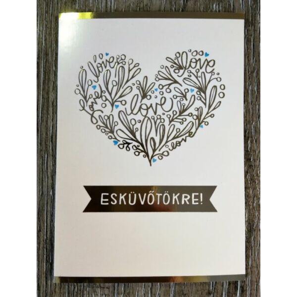 Arany love szíves esküvői képeslap