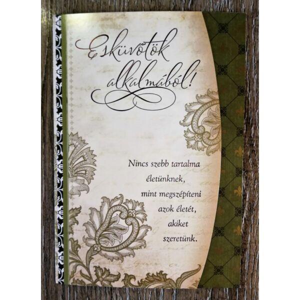 Elegáns zöld esküvői képeslap
