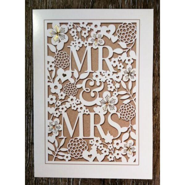 Arany mr és mrs esküvői képeslap
