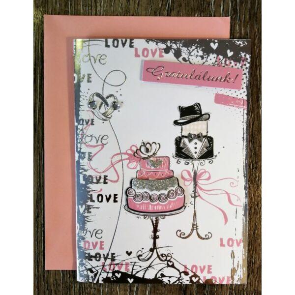 Rózsaszín-ezüst esküvői gratulációs képeslap