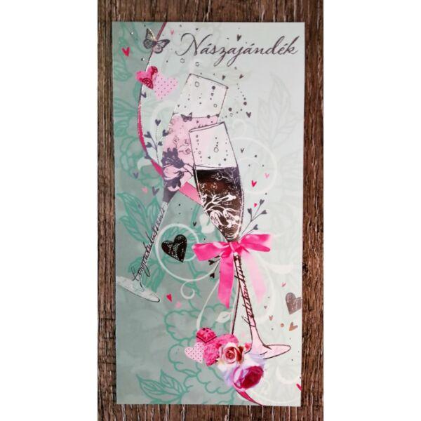 Ezüst pezsgős poharas nászajándék képeslap