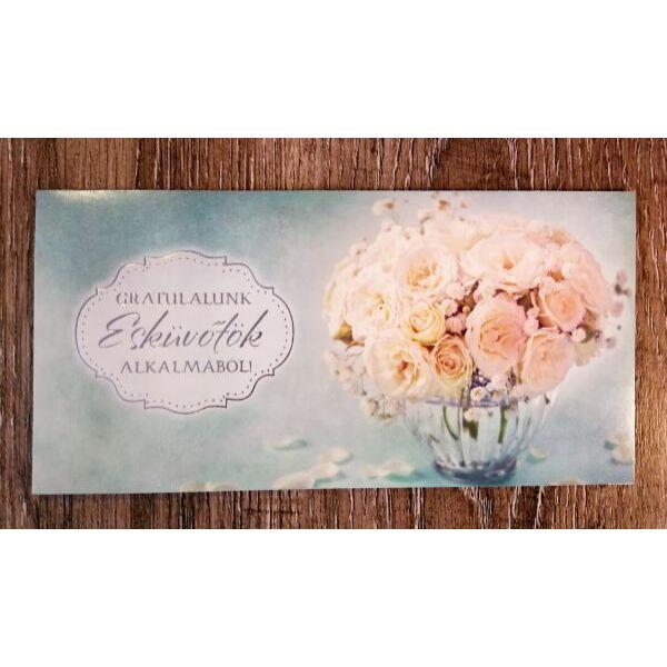 Ekrü rózsás gratulációs nászajándék képeslap