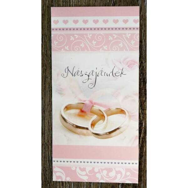 Rózsaszín gyűrűs nászajándék képeslap