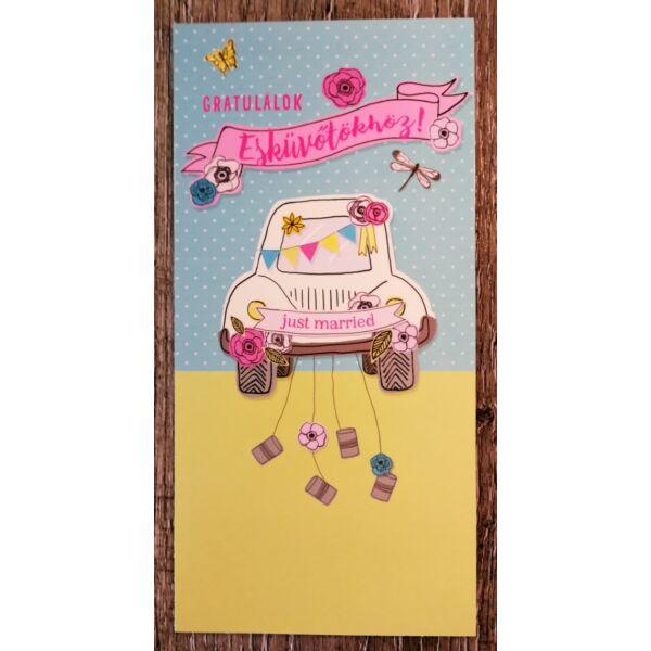 Színes esküvői autós nászajándék képeslap