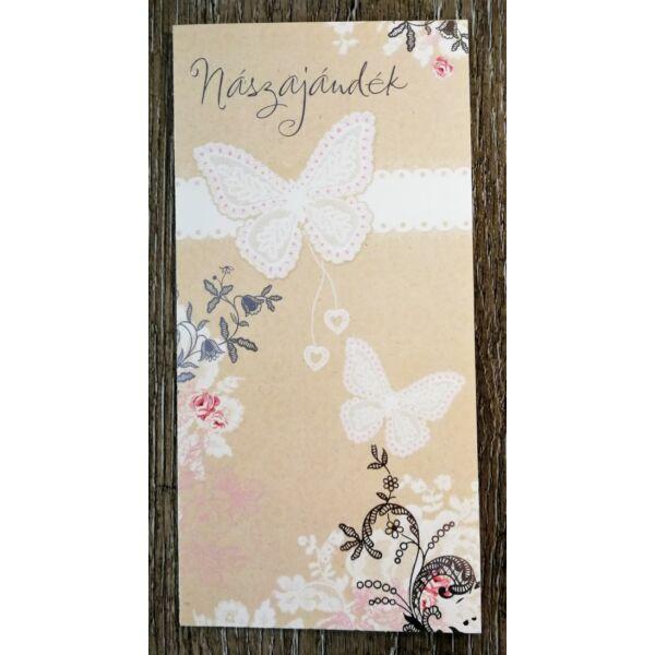 Virágos pillangós nászajándék képeslap