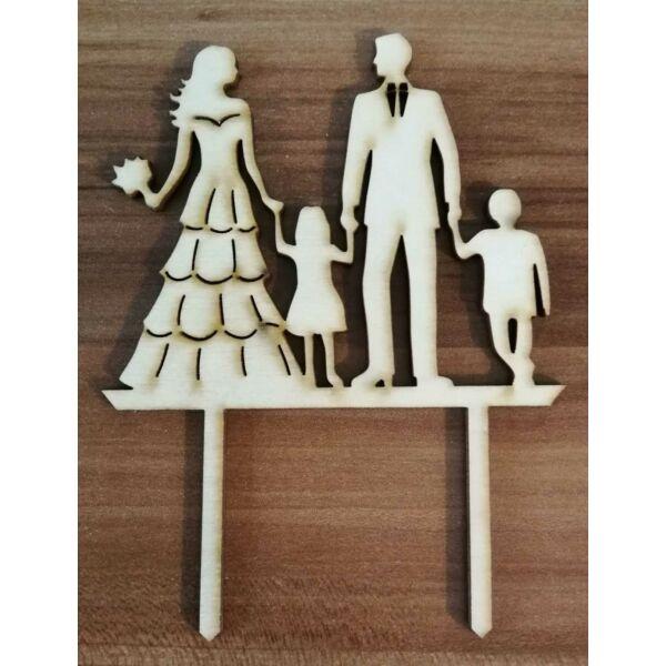 Esküvői sziluett tortadísz gyerekekkel