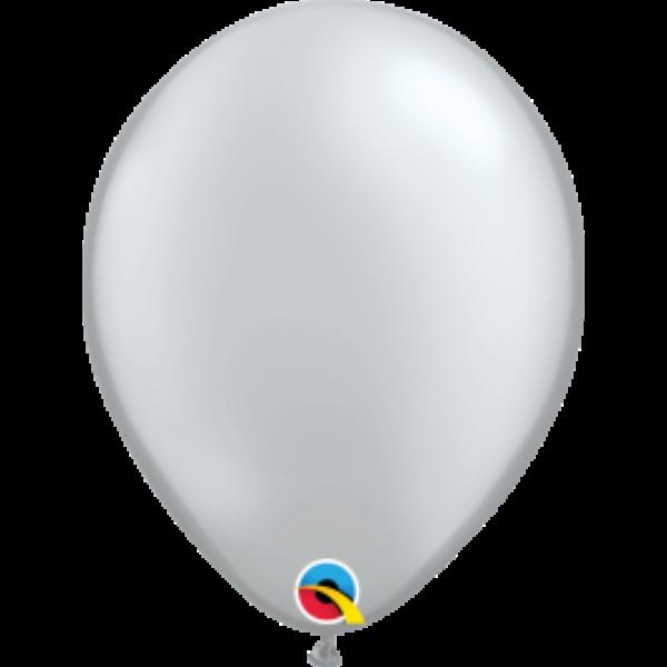 Ezüst gyöngyházas qualatex lufi 28 cm