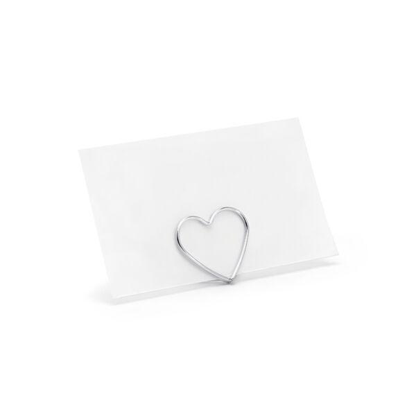 Ezüst szivecske ültetőkártya tartó 10 db
