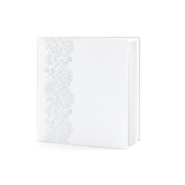 Ezüst virágmintás fehér vendégkönyv