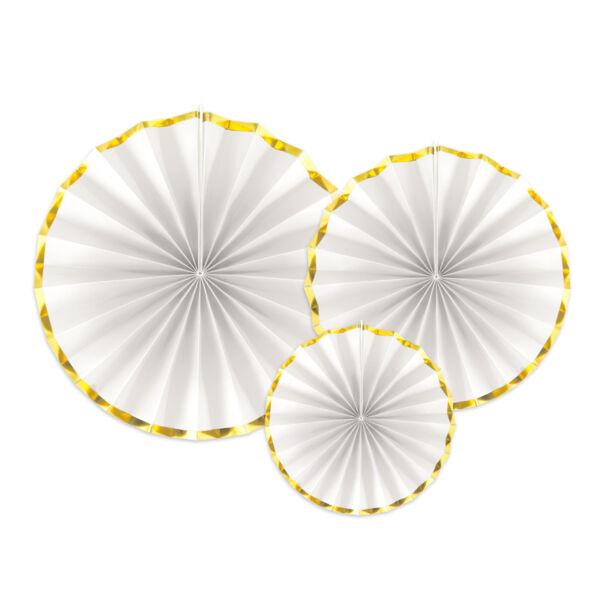 Fehér-arany legyező szett 3 db