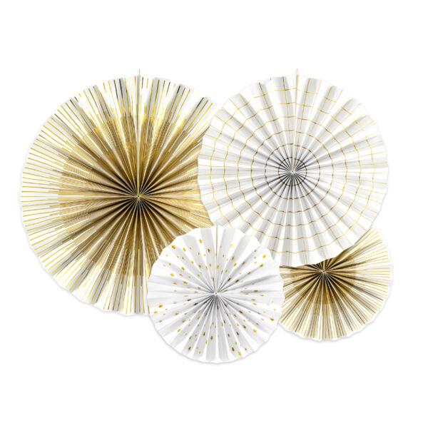 Elegáns fehér-arany legyező szett 4 db