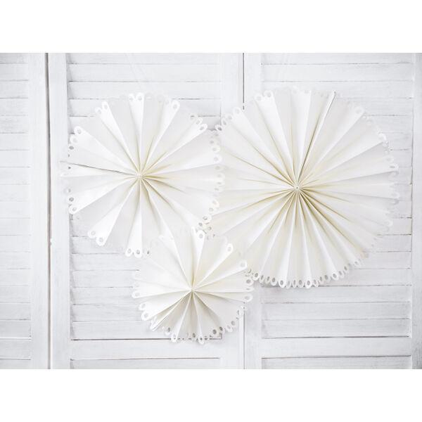 Fehér csipke szélű papír legyező szett 3 db