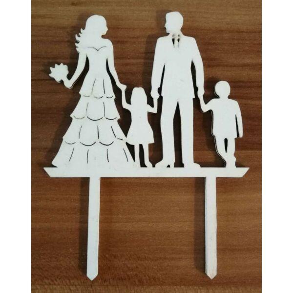 Fehér esküvői sziluett tortadísz gyerekekkel