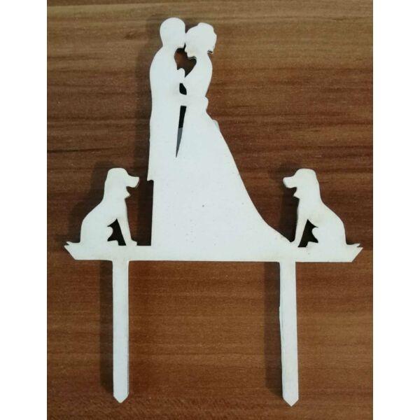 Fehér esküvői sziluett tortadísz kutyás