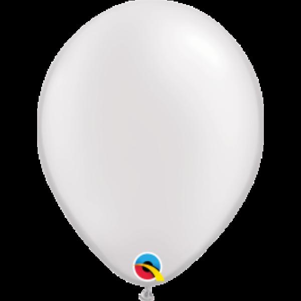 Fehér gyöngyházas qualatex lufi 28 cm