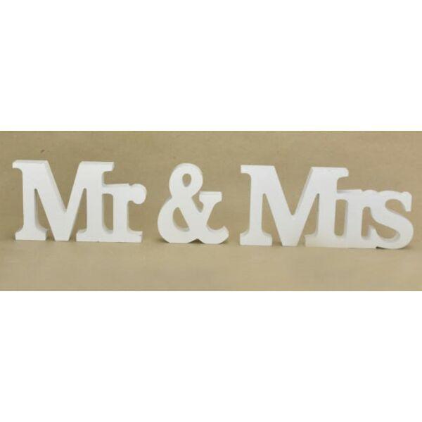 Fehér Mr és Mrs fa felirat