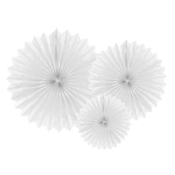 Fehér selyempapír legyező szett 3 db