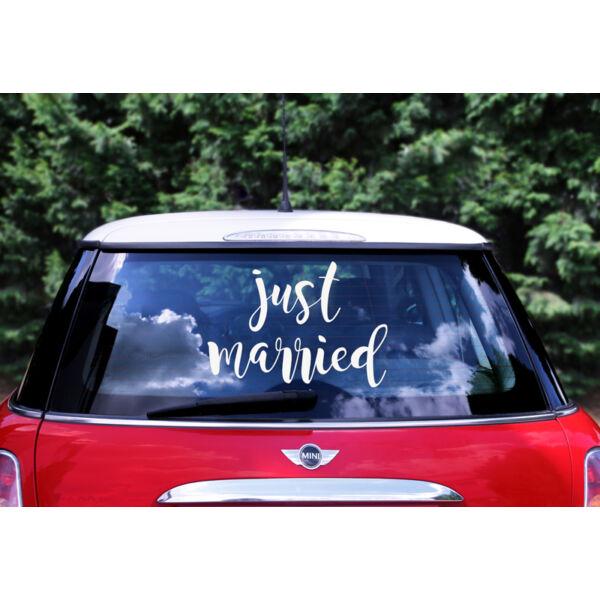 Just married esküvői autódekor matrica