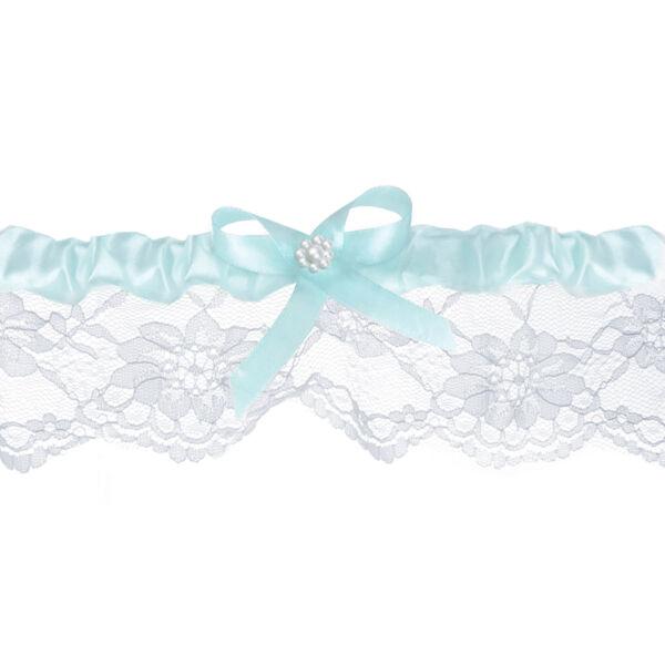 Kék masnis szatén-csipkés harisnyakötő