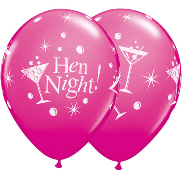 Pink koktél poharas hen night lufi