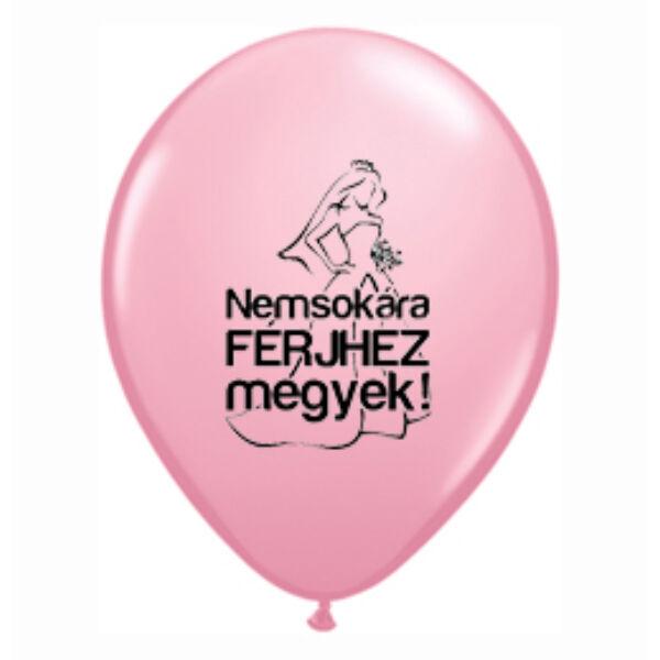 Nemsokára férjhez megyek rózsaszín héliumos lufi