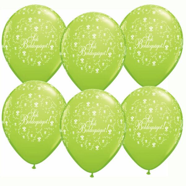 Lime zöld sok boldogságot esküvői lufi